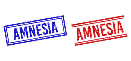 AMNESIA rubber watermarks with distress style. Vectors designed with double lines, in blue and red versions. Caption placed inside double rectangle frame and parallel lines.