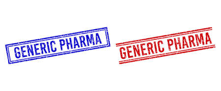 GENERIC PHARMA rubber imitations with distress effect. Vectors designed with double lines, in blue and red versions. Caption placed inside double rectangle frame and parallel lines.