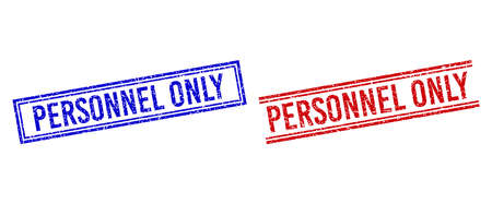 PERSONNEL ONLY stamp overlays with grunge texture. Vectors designed with double lines, in blue and red versions. Text placed inside double rectangle frame and parallel lines.