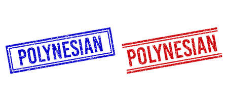 POLYNESIAN stamp watermarks with grunge style. Vectors designed with double lines, in blue and red colors. Caption placed inside double rectangle frame and parallel lines.