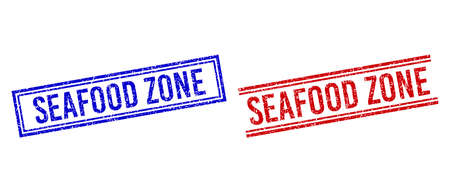 SEAFOOD ZONE rubber imprints with distress style. Vectors designed with double lines, in blue and red versions. Text placed inside double rectangle frame and parallel lines.