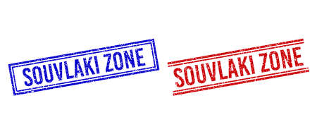 SOUVLAKI ZONE rubber imitations with grunge style. Vectors designed with double lines, in blue and red colors. Caption placed inside double rectangle frame and parallel lines.