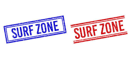 SURF ZONE rubber imitations with grunge style. Vectors designed with double lines, in blue and red versions. Word placed inside double rectangle frame and parallel lines.