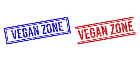VEGAN ZONE rubber imitations with distress effect. Vectors designed with double lines, in blue and red variants. Phrase placed inside double rectangle frame and parallel lines.