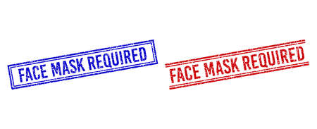 FACE MASK REQUIRED rubber watermarks with grunge style. Vectors designed with double lines, in blue and red variants. Text placed inside double rectangle frame and parallel lines.