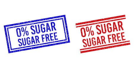 0% SUGAR FREE seal imitations with distress texture. Vectors designed with double lines, in blue and red versions. Text placed inside double rectangle frame and parallel lines.