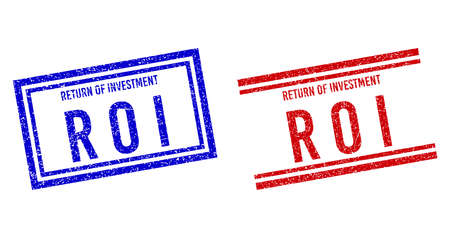 RETURN OF INVESTMENT R O I rubber overlays with grunge effect. Vectors designed with double lines, in blue and red versions. Label placed inside double rectangle frame and parallel lines. Vektoros illusztráció