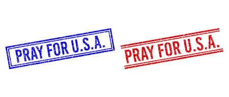 PRAY FOR U.S.A. rubber overlays with distress style. Vectors designed with double lines, in blue and red colors. Label placed inside double rectangle frame and parallel lines.
