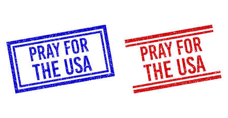 PRAY FOR THE USA rubber watermarks with grunge style. Vectors designed with double lines, in blue and red variants. Phrase placed inside double rectangle frame and parallel lines.