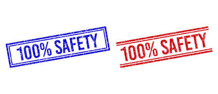100% SAFETY rubber imitations with grunge texture. Vectors designed with double lines, in blue and red versions. Label placed inside double rectangle frame and parallel lines.