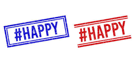 #HAPPY seal imprints with grunge texture. Vectors designed with double lines, in blue and red variants. Text placed inside double rectangle frame and parallel lines.