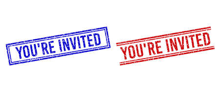 YOURE INVITED rubber watermarks with distress texture. Vectors designed with double lines, in blue and red versions. Phrase placed inside double rectangle frame and parallel lines.