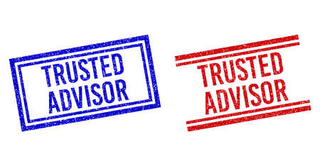 TRUSTED ADVISOR rubber imprints with distress style. Vectors designed with double lines, in blue and red colors. Label placed inside double rectangle frame and parallel lines. Vektorové ilustrace