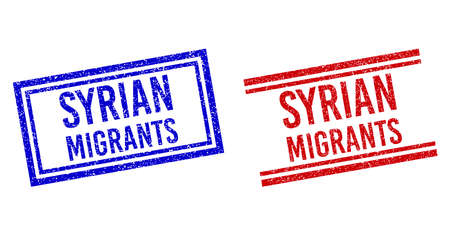 SYRIAN MIGRANTS stamp seal imprints with grunge texture. Vectors designed with double lines, in blue and red variants. Label placed inside double rectangle frame and parallel lines.