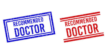 RECOMMENDED DOCTOR stamp overlays with grunge style. Vectors designed with double lines, in blue and red colors. Text placed inside double rectangle frame and parallel lines.