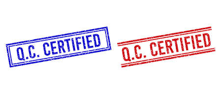 Q.C. CERTIFIED rubber imprints with grunge effect. Vectors designed with double lines, in blue and red variants. Word placed inside double rectangle frame and parallel lines. Rubber print of Q.C.