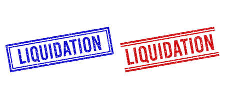 LIQUIDATION rubber imitations with grunge style. Vectors designed with double lines, in blue and red variants. Word placed inside double rectangle frame and parallel lines. Vetores