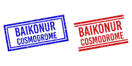 BAIKONUR COSMODROME stamp imitations with grunge style. Vectors designed with double lines, in blue and red colors. Phrase placed inside double rectangle frame and parallel lines.