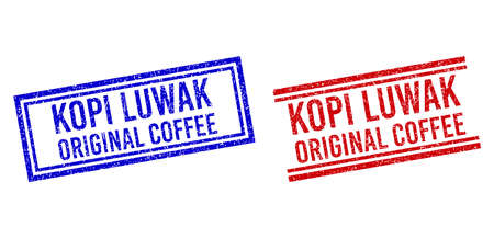 KOPI LUWAK ORIGINAL COFFEE rubber imitations with distress style. Vectors designed with double lines, in blue and red variants. Text placed inside double rectangle frame and parallel lines. Vetores