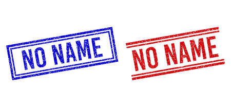 NO NAME seal overlays with grunge style. Vectors designed with double lines, in blue and red colors. Word placed inside double rectangle frame and parallel lines.