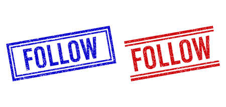 FOLLOW seal watermarks with grunge texture. Vectors designed with double lines, in blue and red versions. Tag placed inside double rectangle frame and parallel lines.