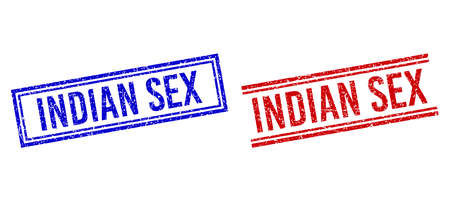 INDIAN SEX rubber imprints with distress texture. Vectors designed with double lines, in blue and red versions. Tag placed inside double rectangle frame and parallel lines.