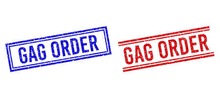 GAG ORDER rubber overlays with distress texture. Vectors designed with double lines, in blue and red versions. Label placed inside double rectangle frame and parallel lines. Vektoros illusztráció
