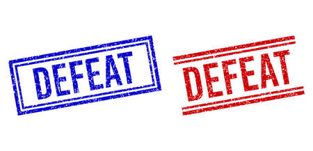 DEFEAT rubber overlays with distress texture. Vectors designed with double lines, in blue and red versions. Caption placed inside double rectangle frame and parallel lines.