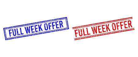 FULL WEEK OFFER stamp overlays with grunge texture. Vectors designed with double lines, in blue and red variants. Tag placed inside double rectangle frame and parallel lines.