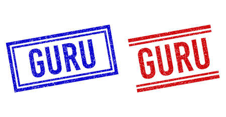 GURU rubber overlays with distress style. Vectors designed with double lines, in blue and red colors. Caption placed inside double rectangle frame and parallel lines.