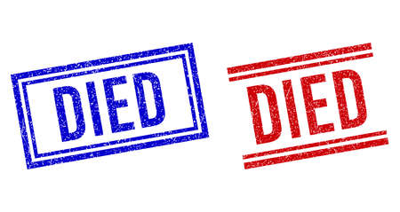 DIED rubber watermarks with grunge texture. Vectors designed with double lines, in blue and red variants. Phrase placed inside double rectangle frame and parallel lines.