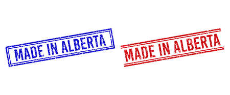 MADE IN ALBERTA rubber imitations with distress style. Vectors designed with double lines, in blue and red colors. Word placed inside double rectangle frame and parallel lines.
