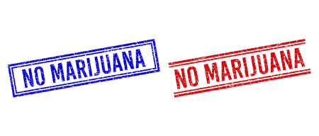 NO MARIJUANA rubber overlays with distress style. Vectors designed with double lines, in blue and red versions. Phrase placed inside double rectangle frame and parallel lines. Ilustracje wektorowe