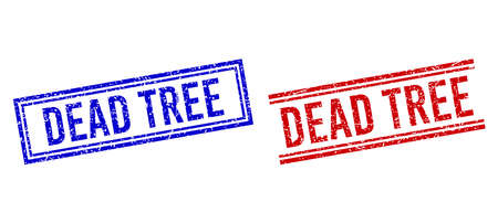 DEAD TREE seal watermarks with distress style. Vectors designed with double lines, in blue and red variants. Label placed inside double rectangle frame and parallel lines.