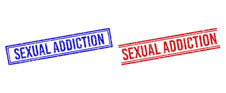 SEXUAL ADDICTION stamp imprints with distress style. Vectors designed with double lines, in blue and red versions. Caption placed inside double rectangle frame and parallel lines.