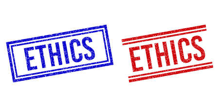 ETHICS rubber watermarks with grunge style. Vectors designed with double lines, in blue and red variants. Caption placed inside double rectangle frame and parallel lines. Vetores