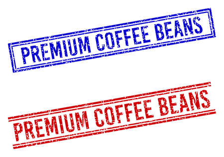 PREMIUM COFFEE BEANS stamp seal imprints with grunge style. Vectors designed with double lines, in blue and red variants. Phrase placed inside double rectangle frame and parallel lines.