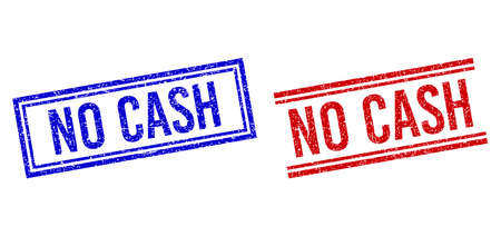 NO CASH seal watermarks with grunge texture. Vectors designed with double lines, in blue and red colors. Label placed inside double rectangle frame and parallel lines.