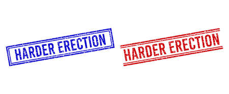 HARDER ERECTION rubber imitations with grunge effect. Vectors designed with double lines, in blue and red versions. Phrase placed inside double rectangle frame and parallel lines. Ilustração Vetorial