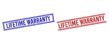 LIFETIME WARRANTY seal imitations with grunge texture. Vectors designed with double lines, in blue and red variants. Tag placed inside double rectangle frame and parallel lines. Vektoros illusztráció