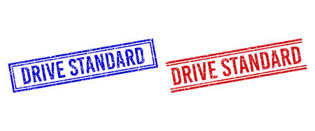 DRIVE STANDARD seal overlays with grunge texture. Vectors designed with double lines, in blue and red versions. Tag placed inside double rectangle frame and parallel lines.