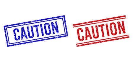 CAUTION rubber overlays with grunge effect. Vectors designed with double lines, in blue and red variants. Caption placed inside double rectangle frame and parallel lines.