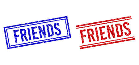 FRIENDS rubber imitations with distress style. Vectors designed with double lines, in blue and red variants. Word placed inside double rectangle frame and parallel lines. Vetores