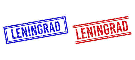 LENINGRAD seal overlays with grunge style. Vectors designed with double lines, in blue and red variants. Text placed inside double rectangle frame and parallel lines. Vetores