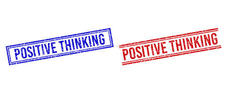 POSITIVE THINKING stamp seal imprints with grunge texture. Vectors designed with double lines, in blue and red colors. Label placed inside double rectangle frame and parallel lines.