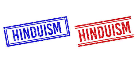 HINDUISM rubber overlays with distress style. Vectors designed with double lines, in blue and red versions. Caption placed inside double rectangle frame and parallel lines. Ilustración de vector