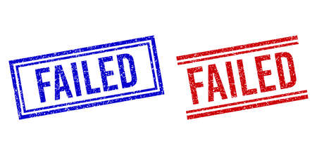 FAILED seal watermarks with grunge texture. Vectors designed with double lines, in blue and red versions. Tag placed inside double rectangle frame and parallel lines.