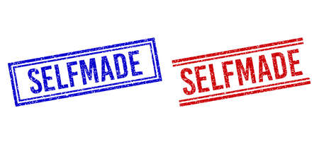 SELFMADE rubber imitations with distress texture. Vectors designed with double lines, in blue and red variants. Tag placed inside double rectangle frame and parallel lines.