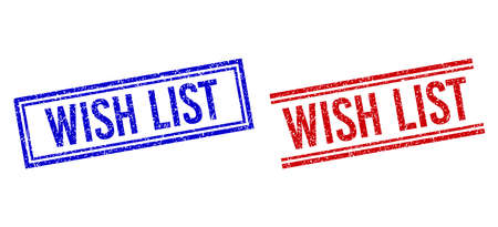 WISH LIST rubber watermarks with grunge style. Vectors designed with double lines, in blue and red variants. Caption placed inside double rectangle frame and parallel lines.
