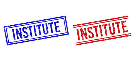 INSTITUTE rubber overlays with grunge effect. Vectors designed with double lines, in blue and red colors. Caption placed inside double rectangle frame and parallel lines.